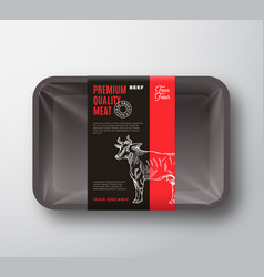 Premium quality beef meat packaging design layout vector
