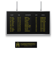 Realistic 3d digital led airport board with flight vector