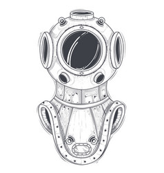 retro deep sea scuba equipment line art vector image