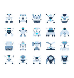 robot simple flat color icons set vector image