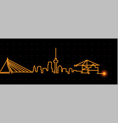 Rotterdam light streak skyline vector