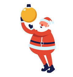 santa claus with bauble xmas and new year holiday vector image