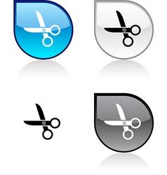 scissors button vector image