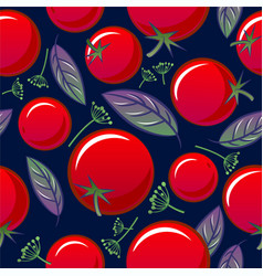 Seamless pattern tomato basil dill spicy herbs vector