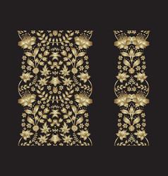 set golden lace pattern decorative elements vector image