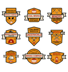 set of coal mining company emblem templates vector image