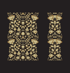 Set of golden lace pattern decorative elements vector