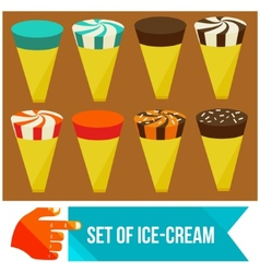 Set of ice cream horns vector