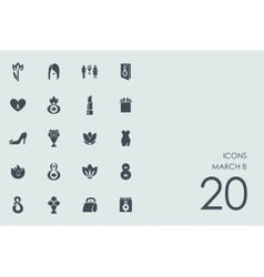 Set of March 8 icons vector
