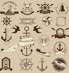 Set of the nautical emblems and design elements vector