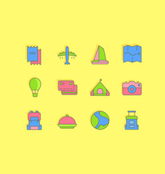 set simple line icons travel vector image