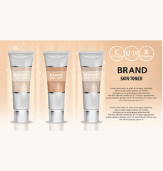 Skin toner cosmetic products ad 3d vector