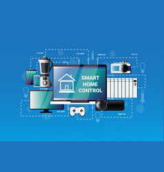 smart home control system devices automation vector image