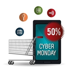 Smartphone cyber monday cart shop discount vector