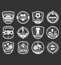 soccer club championship sport monochrome icons vector image