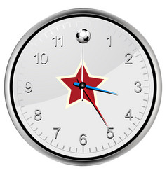 soccer football clock with red star vector image