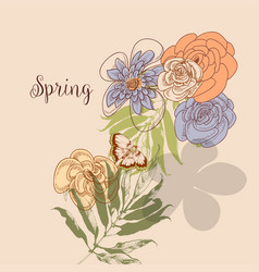 spring natural background flowers and leaf vector image