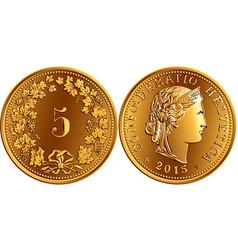 Swiss money 5 centimes gold coin vector