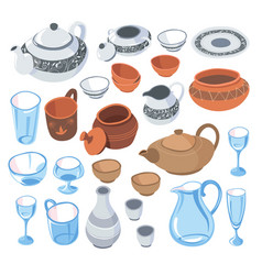 Tableware for serving dishes for guests vector