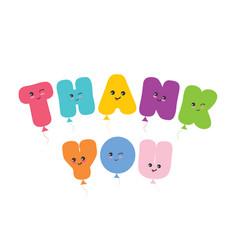 Thank you inscription kawaii balloon colorful vector