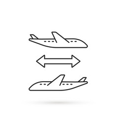thin line connecting flight icon vector image