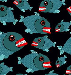 Toothy fish seamless background Evil piranhas in vector