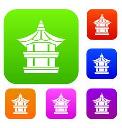 Traditional korean pagoda set collection vector