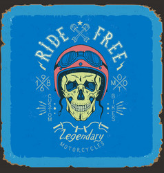 vintage skull biker label in blue and red color vector image