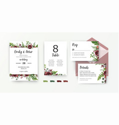 Wedding stationery set invite invitation card vector