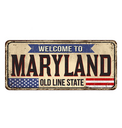 Welcome to maryland vintage rusty metal sign vector