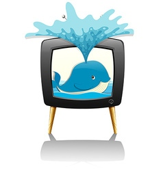 Whale splashing water out of television vector