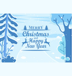 Winter holiday postcard happy new year vector