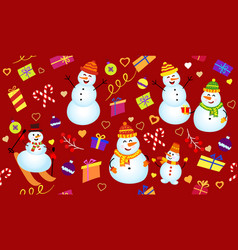 winter pattern with snowmen gifts and confetti vector image
