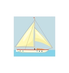 Yacht with white sails icon cartoon style vector