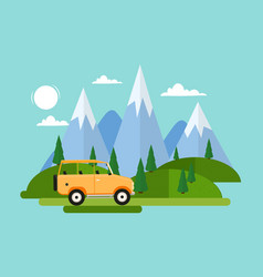 yellow car is driving along forest with huge vector image