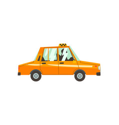 yellow taxi car side view taxi service cartoon vector image