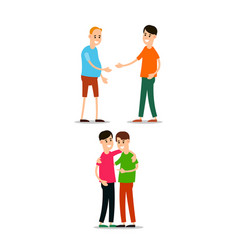 Young man standing and greet each other young vector