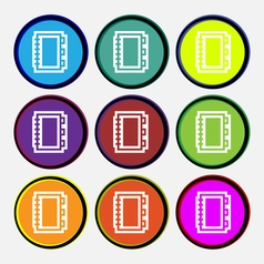 Book icon sign Nine multi colored round buttons vector image vector image
