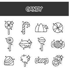 candy cartoon concept icons vector image