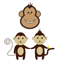 monkey cartoon friend set smile design vector image vector image