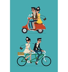 Set of a Couple on a Bike and a Scooter vector image