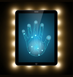 technology security circuit hand palm tablet vector image