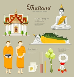 Thai Buddha and Temple with monks vector image