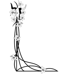 bull skull and lilies vector image vector image