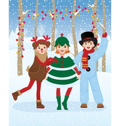 Children in Christmas carnival costumes vector image vector image