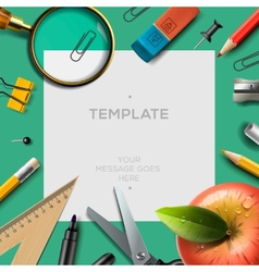 Education template with office supplies back to vector image vector image