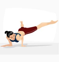 Girl doing handstand vector