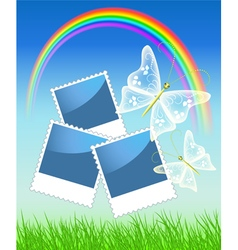 Rainbow and butterflies and photo frame vector image vector image