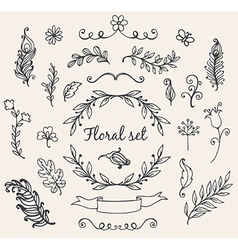 Set of hand drawn decorative floral elements vector image vector image