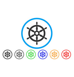ship steering wheel rounded icon vector image